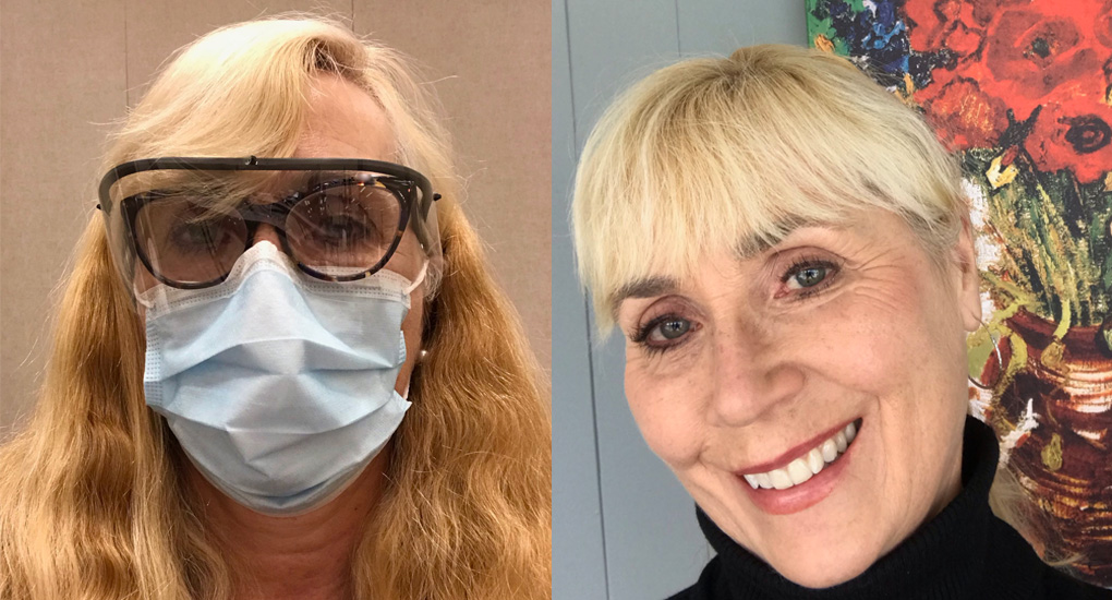 Lin, retired nurse - two headshots, one normal and one with PPE